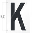 3.5 Inch Tall Vinyl Letter K Black On White