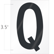3.5 Inch Tall Vinyl Letter Q Black On White