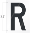 3.5 Inch Tall Vinyl Letter R Black On White