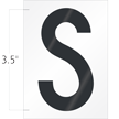 3.5 Inch Tall Vinyl Letter S Black On White