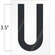 3.5 Inch Tall Vinyl Letter U Black On White