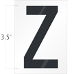 3.5 Inch Tall Vinyl Letter Z Black On White