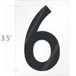 3.5 Inch Tall Vinyl Number 6 Black On White