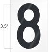 3.5 Inch Tall Vinyl Number 8 Black On White