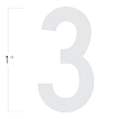 Die-Cut 1 Inch Tall Reflective Number 3 White