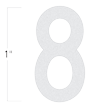 Die-Cut 1 Inch Tall Reflective Number 8 White