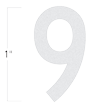 Die-Cut 1 Inch Tall Reflective Number 9 White