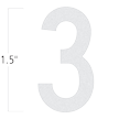 Die-Cut 1.5 Inch Tall Reflective Number 3 White