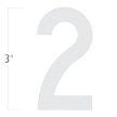 Die-Cut 3 Inch Tall Reflective Number 2 White
