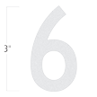 Die-Cut 3 Inch Tall Reflective Number 6 White