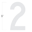 Die-Cut 8 Inch Tall Reflective Number 2 White