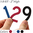 2 inch Die-Cut Magnetic Number Kit, 4 Colors
