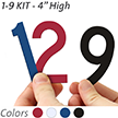4 inch Die-Cut Magnetic Number Kit, 4 Colors
