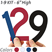 6 inch Die-Cut Magnetic Number Kit, 4 Colors