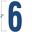 2 inch Die-Cut Magnetic Number - 6, Blue
