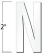 2 inch Die-Cut Magnetic Letter - N, White