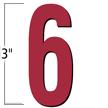 3 inch Die-Cut Magnetic Number - 6, Red