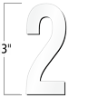 3 inch Die-Cut Magnetic Number - 2, White