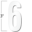 3 inch Die-Cut Magnetic Number - 6, White