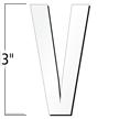 3 inch Die-Cut Magnetic Letter - V, White