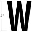 4 inch Die-Cut Magnetic Letter - W, Black