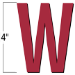 4 inch Die-Cut Magnetic Letter - W, Red