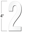 4 inch Die-Cut Magnetic Number - 2, White