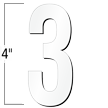 4 inch Die-Cut Magnetic Number - 3, White