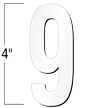 4 inch Die-Cut Magnetic Number - 9, White