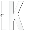 4 inch Die-Cut Magnetic Letter - K, White