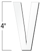 4 inch Die-Cut Magnetic Letter - V, White