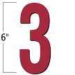 6 inch Die-Cut Magnetic Number - 3, Red