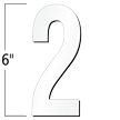 6 inch Die-Cut Magnetic Number - 2, White