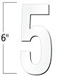 6 inch Die-Cut Magnetic Number - 5, White