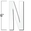6 inch Die-Cut Magnetic Letter - N, White