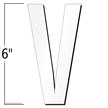 6 inch Die-Cut Magnetic Letter - V, White