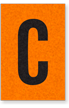 Engineer Grade Vinyl, 1 Inch Letter, Black on Orange, C
