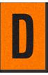 Engineer Grade Vinyl, 1 Inch Letter, Black on Orange, D