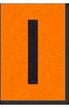 Engineer Grade Vinyl, 1 Inch Letter, Black on Orange, I