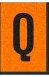Engineer Grade Vinyl, 1 Inch Letter, Black on Orange, Q
