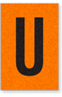 Engineer Grade Vinyl, 1 Inch Letter, Black on Orange, U