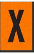 Engineer Grade Vinyl, 1 Inch Letter, Black on Orange, X