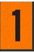 Engineer Grade Vinyl, 1 Inch Number, Black on Orange, 1