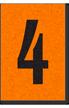 Engineer Grade Vinyl, 1 Inch Number, Black on Orange, 4