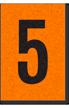 Engineer Grade Vinyl, 1 Inch Number, Black on Orange, 5