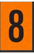 Engineer Grade Vinyl, 1 Inch Number, Black on Orange, 8