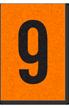 Engineer Grade Vinyl, 1 Inch Number, Black on Orange, 9