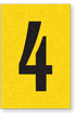 Engineer Grade Vinyl, 1 Inch Number, Black on Yellow, 4