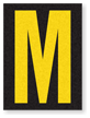 Engineer Grade Vinyl, 1.5 Inch Letter, Yellow on Black M