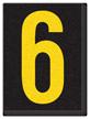 Engineer Grade Vinyl, 1.5 Inch Number, Yellow on Black 6